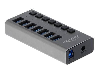 Delock External USB 3.0 Hub with 7 Ports + Switch