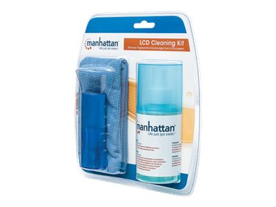 Manhattan LCD Cleaning Kit, Alcohol-free, Includes Cleaning Solution (200ml), Brush and Microfibre Cloth, Ideal for use on monitors/laptops/keyboards/etc, , Three Year WarrantyBlister