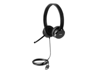 Lenovo 100 - Headset - on-ear - wired - black - for ThinkCentre M70; M75; M80; M90; ThinkPad X1 Carbon Gen 8; X13 Gen 1; ThinkStation P340