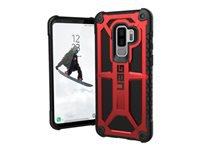 UAG Monarch Series - Back cover for mobile phone - rugged - top-grain leather, alloy metal - crimson - for Samsung Galaxy S9+