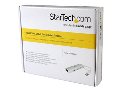 StarTech.com 3-Port USB 3.0 Hub with Gigabit Ethernet - Up to 5Gbps - Portable USB Port Expander with Built-in Cable (ST3300G3UA)