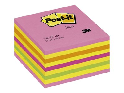 Notes repositionnables Cube Post-it Couleurs Energie Intense - 76 x 76 mm