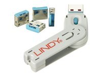 Lindy USB Port Blocker - USB port blocker - blue (pack of 4)
