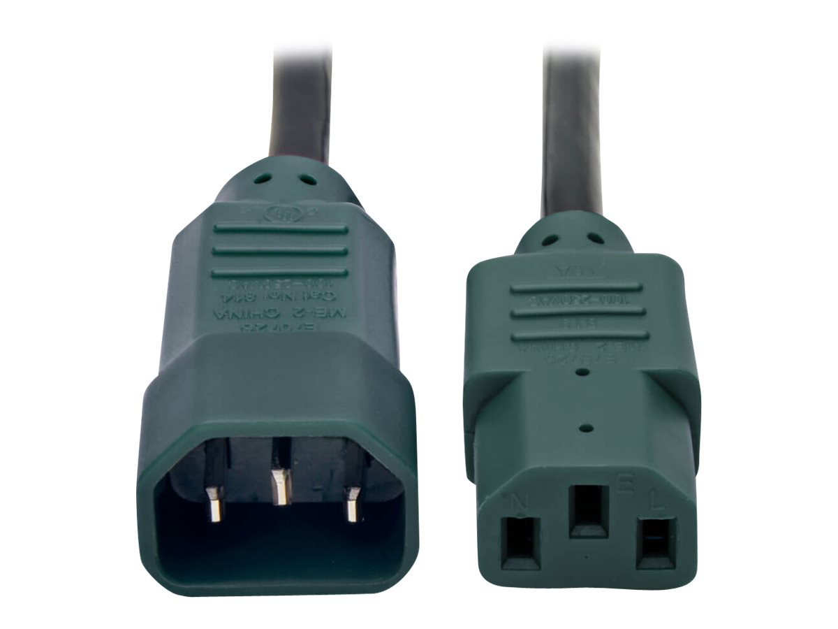 Tripp Lite 4ft Computer Power Cord Extension Cable C14 to C13 Green 10A 18AWG 4' - power extension cable - 1.2 m