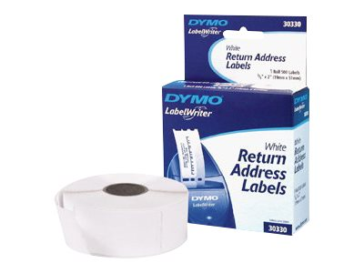 DYMO LabelWriter - Permanent adhesive - black on white - 19.05 x 50.8 mm 500 label(s) (1 roll(s) x 500) return address labels
