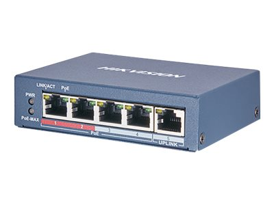 Hikvision DS-3E0105P-E2 Switch unmanaged 4 x 10/100 (PoE+) + 1 x 10/100 desktop