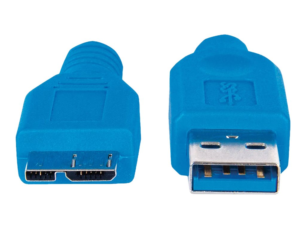 Manhattan USB-A to Micro-USB Cable, 2m, Male to Male, 5 Gbps (USB 3.2 Gen 1), Blue, Polybag - USB cable - 2 m
