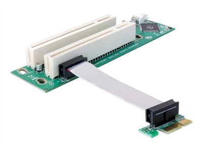 Riser card PCI Express x1 > 2x PCI 32Bit 5 V with flexible cable 9 cm left insertion