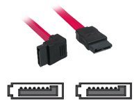 Lindy Short Right-Angled Connector - SATA-Kabel - SATA (W) bis SATA (W) - 70 cm - 90° Stecker, rechts-gewinkelter Stecker - Rot
