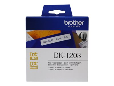 Brother DK1203 Paper black on white 0.67 in x 3.43 in 300) file folder labels