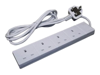 2M 4 Way Power Extension Lead UK Plug to 4 UK Sockets Mains Block White