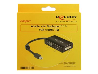 Delock Adapter mini Displayport 1.1 male > VGA / HDMI / DVI female Passive