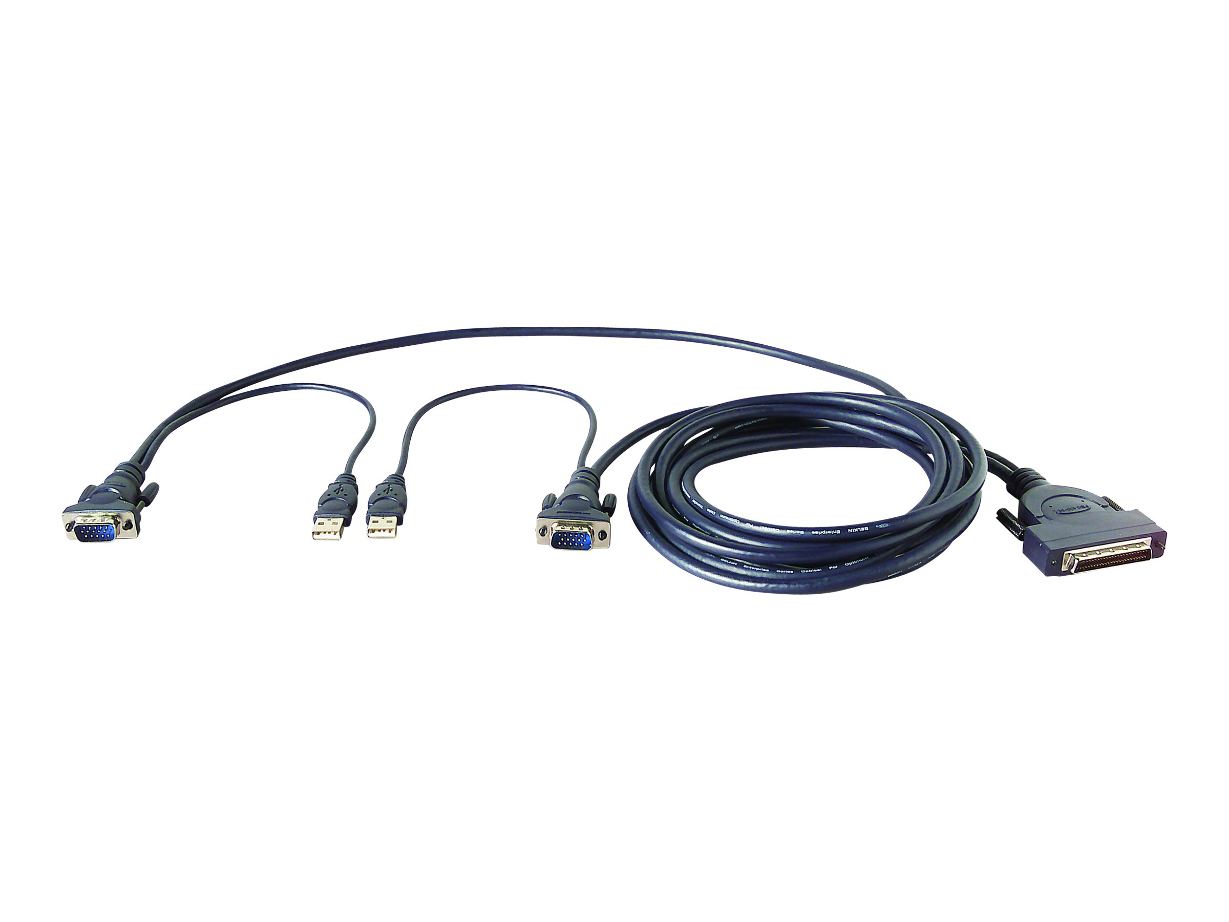 Belkin OmniView Dual Port Cable, USB - Tastatur- / Video- / Maus- (KVM-) Kabel - USB, HD-15 (M) bis DB-25 (M) - 1.8 m - geformt - B2B