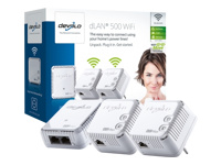 Devolo dLAN 500 WiFi Network Kit - Network Kit - bridge - HomePlug AV (HPAV) - 802.11b/g/n - 2.4 GHz - wall-pluggable (pack of 3)