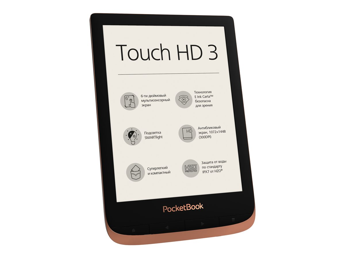 "PocketBook Touch HD 3 - eBook-Reader - 16 GB - 15.2 cm (6"") einfarbig E Ink Carta (1072 x 1448) - Touchscreen - Bluetooth, Wi-Fi"