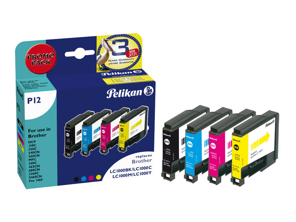 Pelikan P12 - 4er-Pack - Schwarz, Gelb, Cyan, Magenta - Tintenpatrone (Alternative zu: Brother LC1000BK, Brother LC1000m, Brother LC1000Y, Brother LC1000C) - für Brother DCP-350, 353, 357, 560