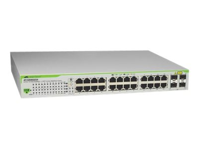 Allied Telesis AT GS950/24 WebSmart Switch - Switch - verwaltet - 24 x 10/100/1000 + 4 x Kombi-SFP - Desktop, an Rack montierbar, wandmontierbar