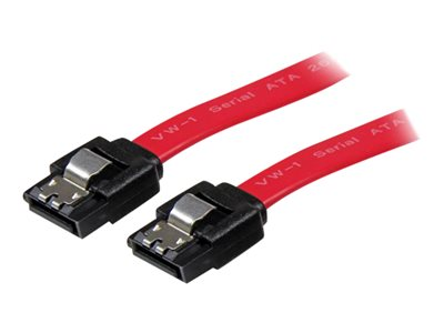 StarTech.com 18in Latching SATA Cable - SATA cable - Serial ATA 150/300/600 - SATA (R) to SATA (R) - 1.5 ft - latched - red - LSATA18