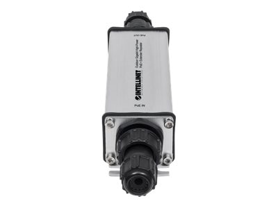 Intellinet Outdoor Gigabit High-Power PoE+ Extender Repeater, IEEE 802.3at/af Power over Ethernet (PoE+/PoE), Extends Range up to 100m, Metal, IP65