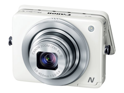 Canon PowerShot N Digital camera compact 12.1 MP 1080p 8x optical zoom Wi-Fi wh