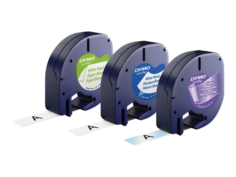 DYMO LetraTAG Multi-Pack - label tape kit - 3 roll(s) - Roll (1.2 cm x 4 m)