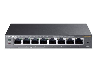 TP-LINK Easy Smart TL-SG108PE - Switch - smart - 4 x 10/100/1000 (4 PoE) + 4 x 10/100/1000 - desktop - PoE (55 W)
