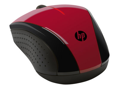 HP X3000 Mouse optical 3 buttons wireless 2.4 GHz USB wireless receiver red