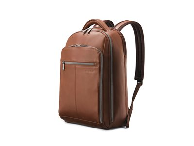 Samsonite Classic Leather Notebook carrying backpack 15.6INCH cognac