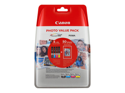 Canon CLI 551XL /BK Photo Value Pack Sort Gul Cyan Magenta 660 sider