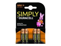 Picture of Duracell Simply MN2400B4S - battery - 4 x AAA type Alkaline (MN2400B4S)