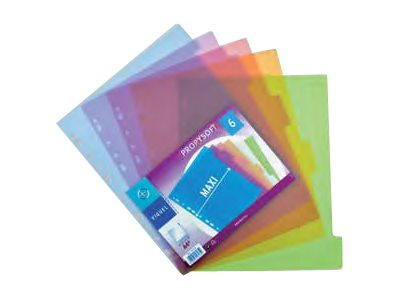 Intercalaires neutres Viquel Propysoft - Intercalaire - 6 positions - A4 Maxi - couleurs assorties