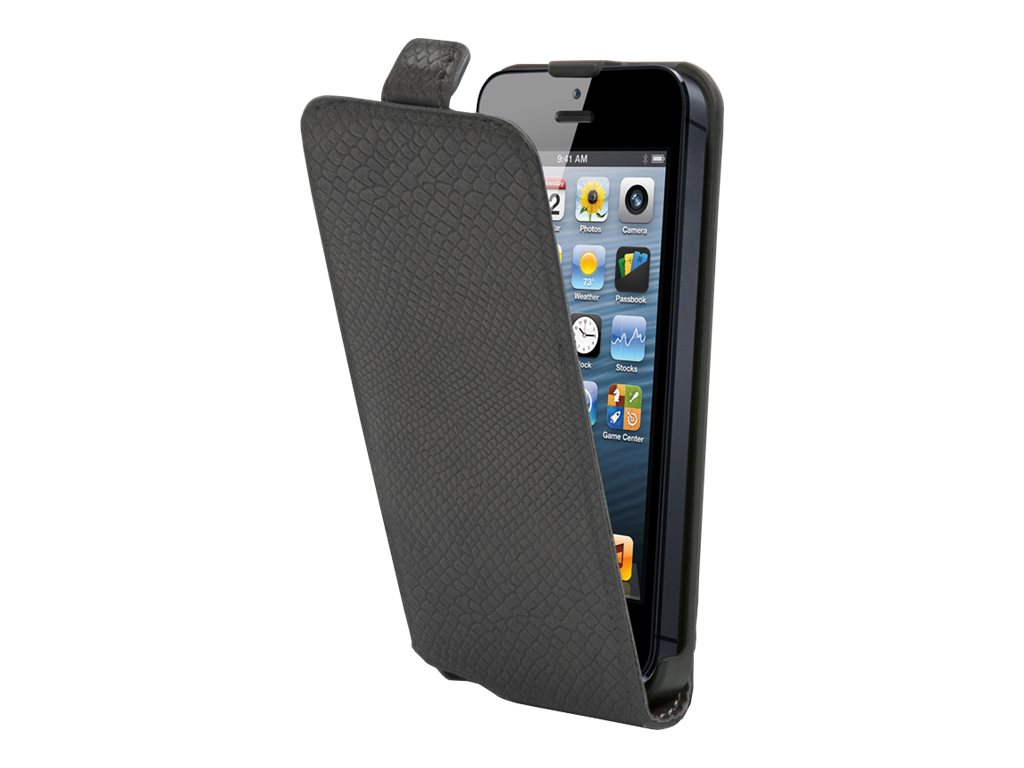 Muvit Made in Paris python slim - Protection à rabat pour iPhone 5, 5s - gris