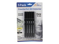Royal Sovereign Money detector pen black, yellow pack of 5