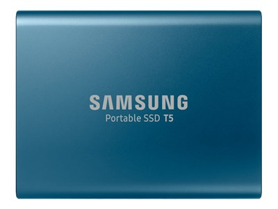 Samsung Portable SSD T5 MU-PA500 - Solid state drive - encrypted - 500 GB - external (portable) - USB 3.1 Gen 2 (USB-C connector) - 256-bit AES - Ocean blue