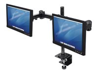 "Manhattan Monitor Dual Desk Mount (clamp), 2 screens, 10-27"", Vesa 75x75 to 100x100mm, 3 pivots (full motion), Height Up to 41.3cm, Max 12kg, Black, ..."