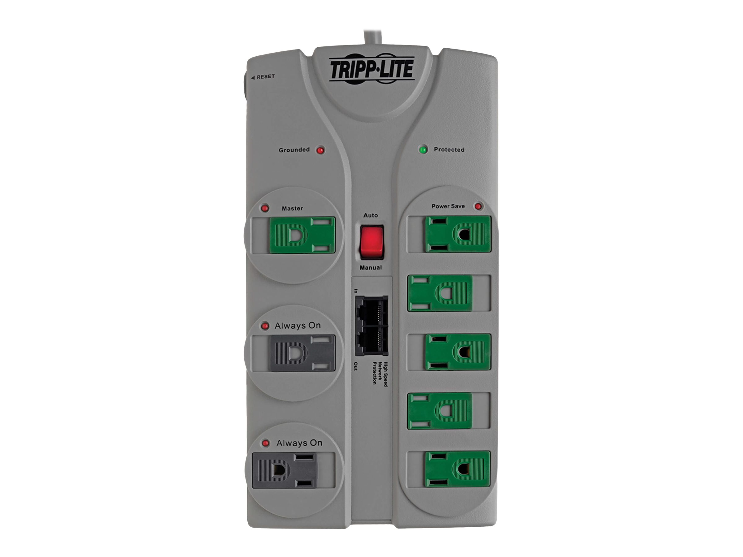 Tripp Lite Eco Surge Protector Green 120V 8 Outlet RJ45 8' Cord 2160 Joule - surge protector