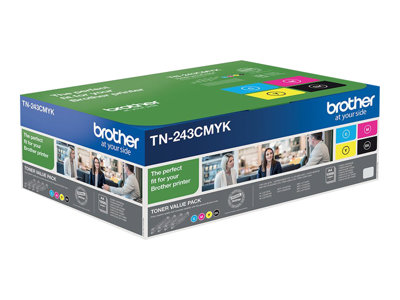 Brother TN 243CMYK Value Pack Sort Gul Cyan Magenta 1000 sider