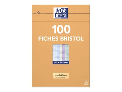 Fiches bristol Oxford Bristol - 100 Fiches d'index - A4 - assorti - quadrillé - 5x5