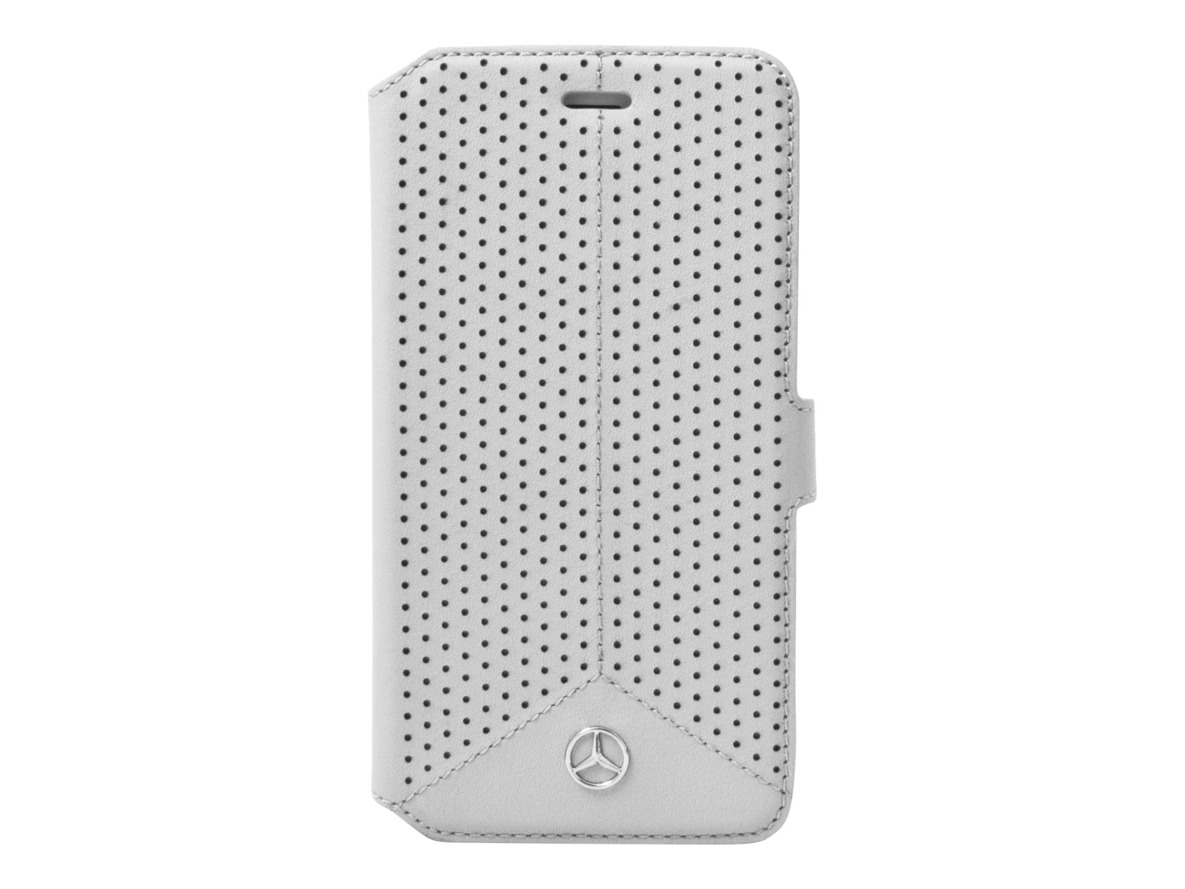 MERCEDES - Protection à rabat pour iPhone 6 Plus, 6s Plus - cuir véritable - gris