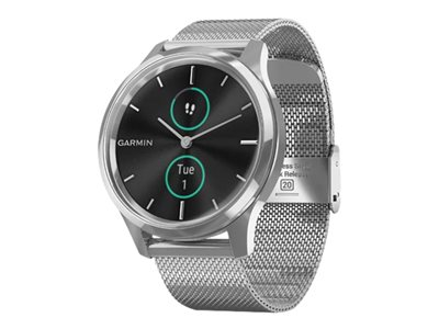 Garmin vívomove Luxe 42 mm silver stainless steel smart watch with milanese band