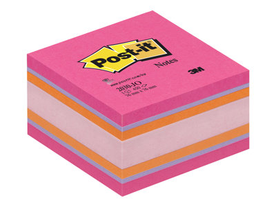 Notes repositionnables Cube Post-it Couleurs Plaisir Intense - 76 x 76 mm