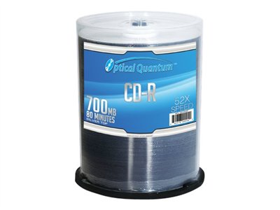 Optical Quantum Silver Top 100 x CD-R 700 MB (80min) 52x shiny silver spindle