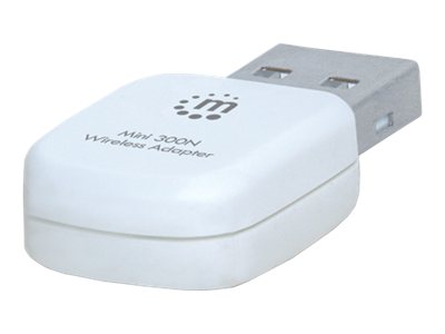 Manhattan Mini 300N Wireless Adapter - Netzwerkadapter - USB 2.0 - 802.11b, 802.11g, 802.11n - weiß