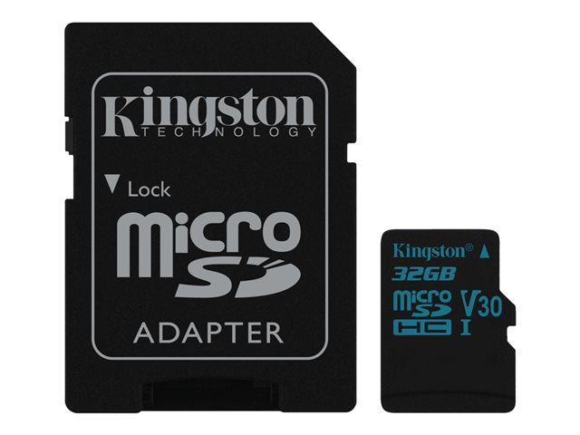 Kingston Canvas Go! - Carte mémoire flash (adaptateur SD inclus(e)) - 32 Go - Video Class V30 / UHS-I U3 / Class10 - microSDHC UHS-I