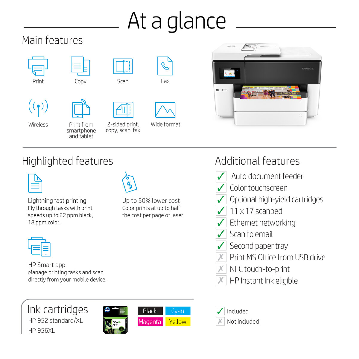 slide 1 of 9,show larger image, hp officejet pro 7740 wide format all-in-one printer