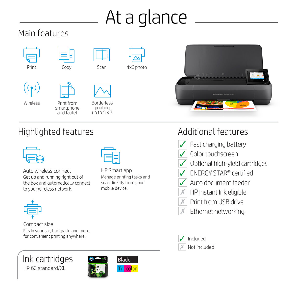 Hp Officejet 250 Wireless Inkjet All In One Color Printer Office Depot