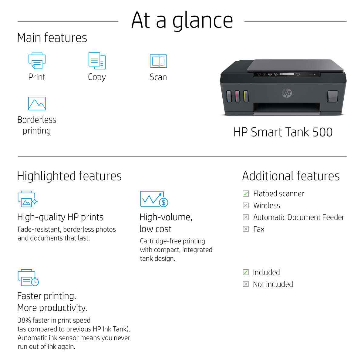slide 1 of 6,show larger image, hp smart tank 500 all-in-one