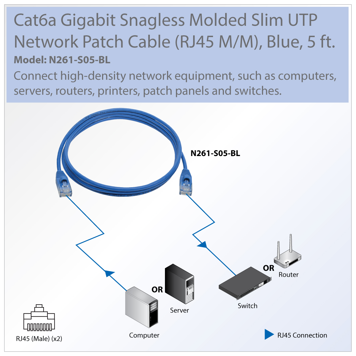 Tripp Lite Cat6a Gigabit Snagless Molded Slim Utp Patch Cable M Diagram Saves Space And Cuts The Clutter