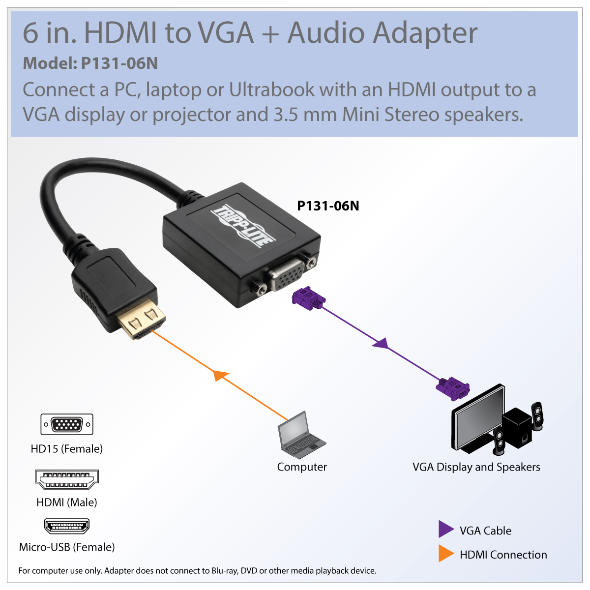 Tripp Lite 6in Hdmi To Vga Adapter Converter With Audio Video For Kabel Plus Hd And Signal Convenient Plug Play Setup
