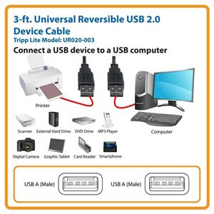 Connect a USB Device to a USB Computer with This 3 ft. Universal Reversible 2.0 Cable